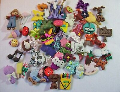 125+ Lot Novelty Mix Buttons/Embellishments Sewing Crafts Scrapbooking