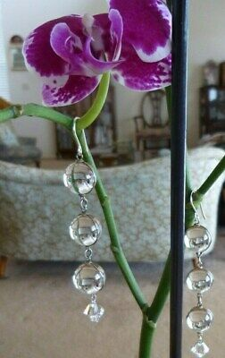 Antique Pools of Light Rock Crystal Earrings Victorian Silver  Undrilled