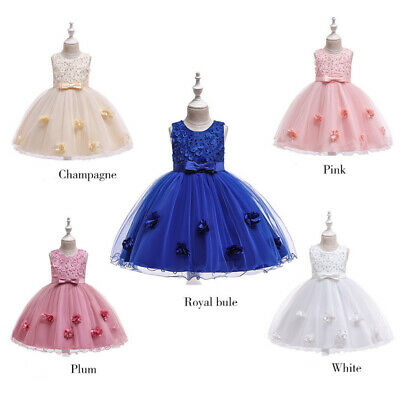 Kids Baby Girl Princess Dress Wedding Party Bridesmaid Pageant Bow Tutu Dresses