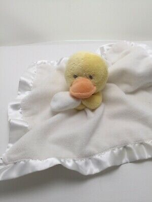 Carters Yellow White Duck Baby Securty Blanket Satin Plush lovey duckling EUC