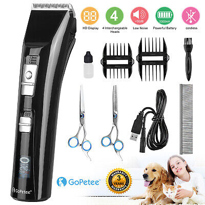 Electric Pet Cat Dog Grooming Clippers Hair Trimmer Shaver Kit Cordless Quiet UK