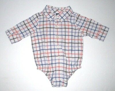 New Nwt Infant Boys Baby Gap Blue & Orange Check Bodysuit Snap Shirt 0-3 Months