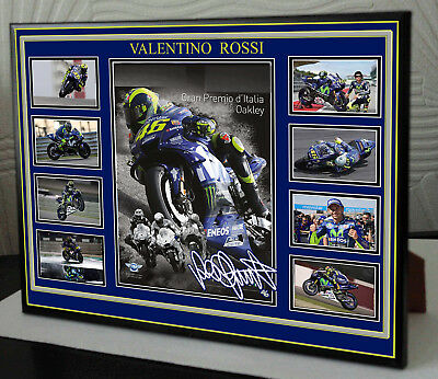 """Valentino Rossi Tribute Framed Canvas Signed Print  """"Great Gift"""""""