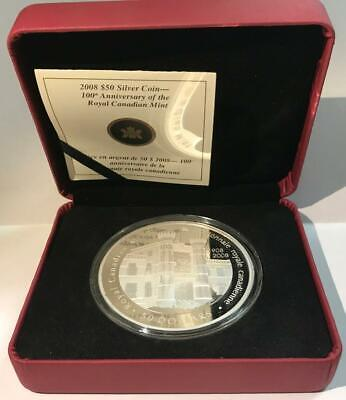 2008 Canada $50 Silver 5 Oz. Proof - 100th Anniv. of Royal Canadian Mint