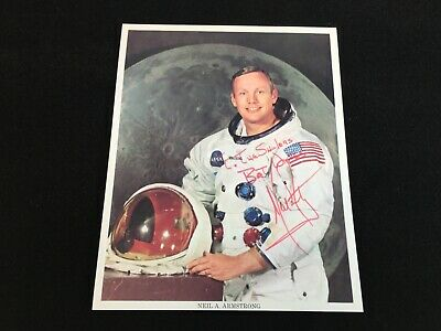 Astronaut NEIL ARMSTRONG Autograph To miss SHULER by Official NASA Apollo 11