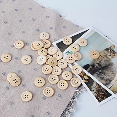 50Pcs Round Shape Wood Buttons 4 Holes Sewing 15mm 18mm 25mm Practical DIY Craft