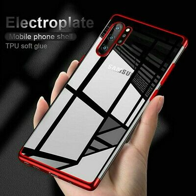 Shockproof Plating Rubber Clear Slim Case Cover For Galaxy Note 10 Plus/S9/S8/S7