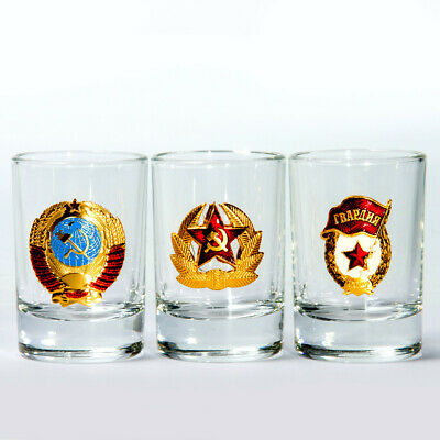 Set of 3 USSR Shot Glasses Made in Russia Vodka Tequila Shots 1.7 fl oz ea