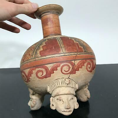 Vtg Pre-Columbian ? Mayan Head Footed Tripot Painted Art Pottery Jug Vessel Vase