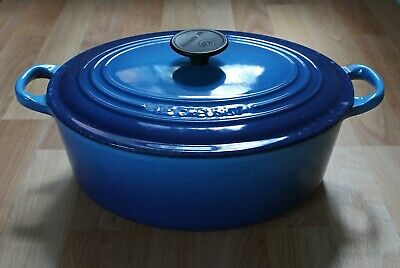 Genuine Le Creuset Cast Iron Large 29cm Blue Oval Casserole Dish Pot Pan And Lid