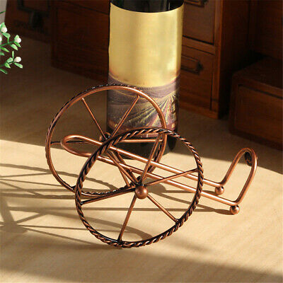 Red Copper Color Iron Wire Double Round Single Wine Bottle Rack Display S8