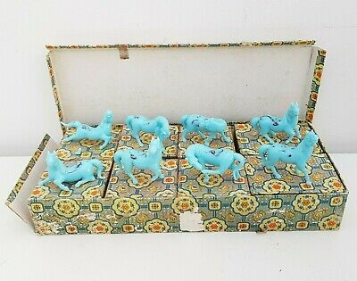 Set of 8 Turquoise/Blue Vintage Miniature Chinese Horses/Ponies Glass/Porcelain