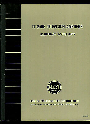 RCA TT-25BH Television Station Broadcast Transmitter Amp Owner's Service Manual
