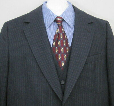BENSLY Men's 38S Charcoal Gray 3 Pc Wool Pinstriped Suit 36X28 Pants USA Made