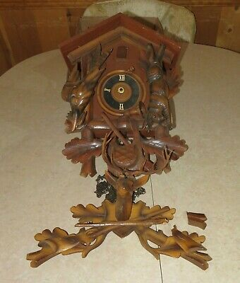 Vintage HECO 8 Day Black Forest HUNTER CUCKOO CLOCK Germany *Parts/Repair*