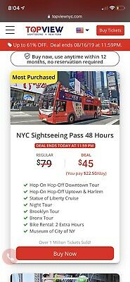 5 New York TOP VIEW Sightseeing 48 Hour Passes $45 Value Each Please Read!!!