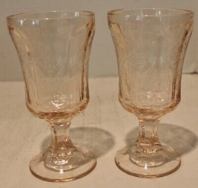 2 VTG Madrid Recollection Pink Depression Goblets Indiana Water Glasses Footed