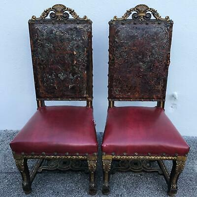 RARE Antique 2pc Spanish Colonial Gothic Tooled Leather Studded Wooden Chairs