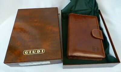 Vintage Giudi Italian Brown Leather Address Book Planner w/ Box Never Used Italy