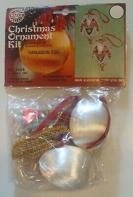 Vintage Walco RED/GREEN HARLEQUIN EGGS Christmas Ornament Kit w/Beads/Sequins