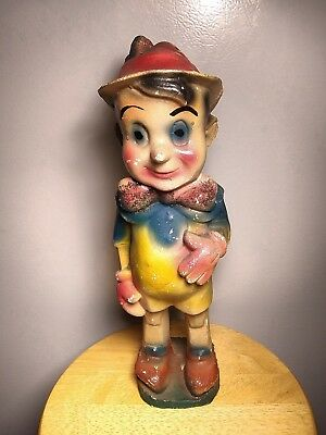 "Antique 1930s 40s Hand Painted Pinnochio 14 1/2"" Chalkware Carnival Prize Figure"