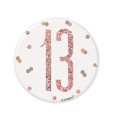 """3"""" White & Rose Gold Pin Badge - Age 13/13th Birthday Party"""