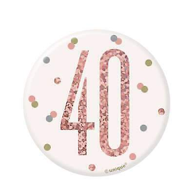 """3"""" White & Rose Gold Pin Badge - Age 40/40th  Birthday Party"""