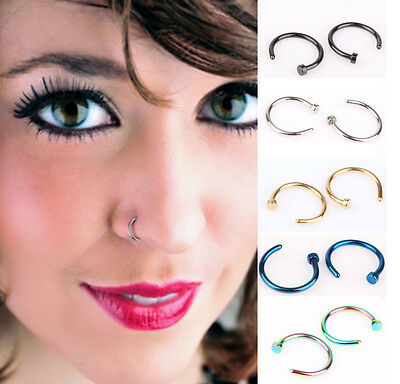 10Pcs 8mm Small Thin Surgical Steel Open Nose Ring Hoop Piercing Stud Gift. Hot