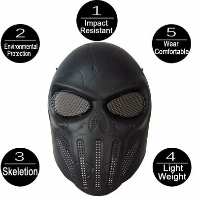 Skull Skeleton Full Face Protective Mask for Halloween Party Airsoft  ☼ME