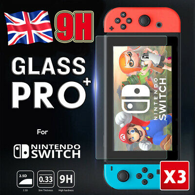 3X For Nintendo Switch Console 9H PREMIUM TEMPERED GLASS Screen Protector Cover