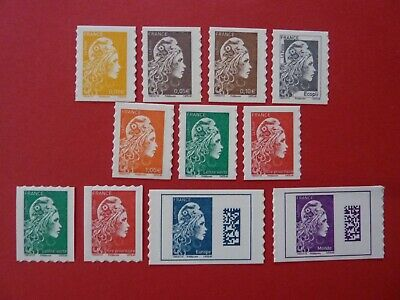 Neuf N° 1594 A 1604 Marianne L'engagee  Adhesif Yseult Yz Digan Serie 11 Timbres