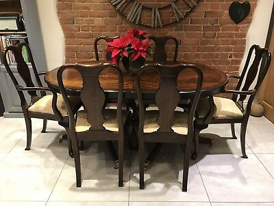 Antique Mahogany Inlaid Extending Dining Table Double Pedestal Wide Seat Chairs