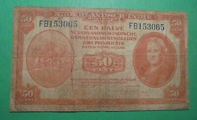 Ww2 1943 Netherlands 50 Cents Banknote.