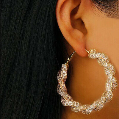 Gold Plated Big Twisted Round Circle Loop Hoop Earrings Trinket for Women C