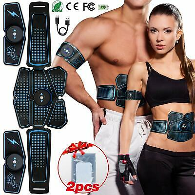EMS Muscle Stimulator USB Rechargeable Abs Trainer Abdominal Muscle Toner 6Modes