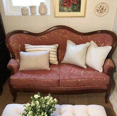 Antique 19th Century French Louis Philippe Settee Sofa Walnut Chair