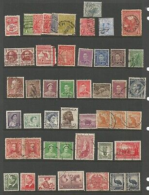 PAGE OF AUSTRALIAN PRE DECIMAL STAMPS ALL DIFFERENT USED see scans 27/34