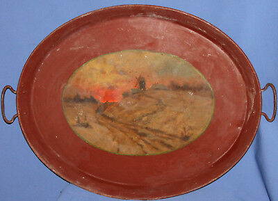 Antique Hand Painted Metal Serving Tray Windmill Landscape