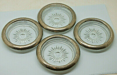 Vintage Silver Plate And Cut Glass Wine Drink Coasters. Set Of Four Italian 4