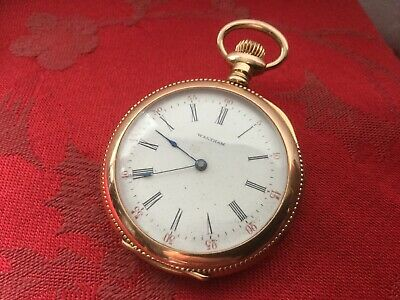 Stunning Waltham Gold Plate Pocket Watch With Beautiful Dial GWO