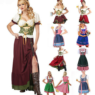 Women Oktoberfest Fancy Dress Traditional German Beer Fest Maid Servant Costume