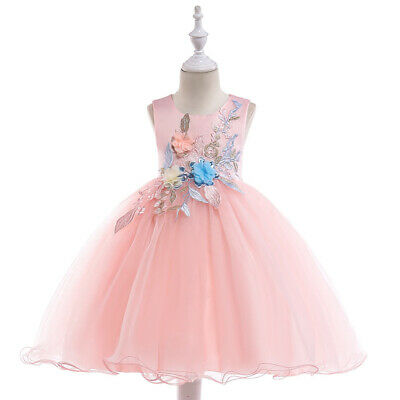 Children's Embroidery Flower Dress Sleeveless Girls Princess Party Pageant Dress