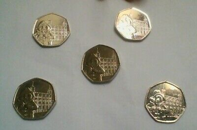 Uncirculated 2019 Paddington Bear  Tower Of London 50P Coins Five For £10