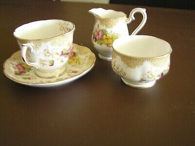 Royal Albert Lovelace Bone china cup and saucer, suger bowl and milk jug