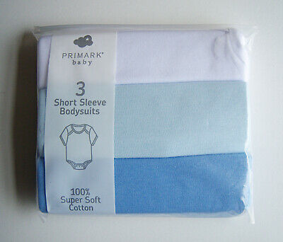 Baby Boys Blue White Super Soft Cotton 3 Pack Sleeveless Bodysuits Vests