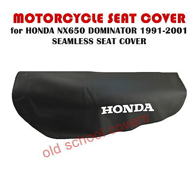 Honda Nx650 Nx 650 Dominator 1991-2001 Seamless Black Seat Cover & White Logos
