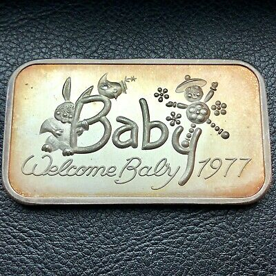 Welcome Baby 1 oz .999 Fine Silver Art Bar 1977 Madison Mint (9322)