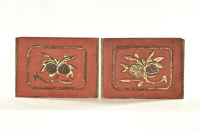 Pair Antique Chinese Red & Gilded Wooden Carved Panel, 19th c