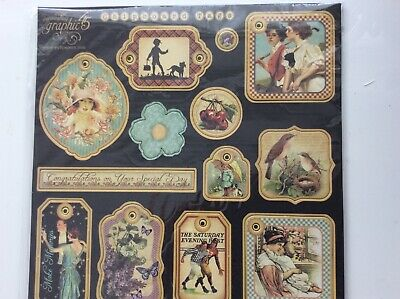 Graphic 45 Vintage Collection Chipboard Tags - 13 GORGEOUS TAGS