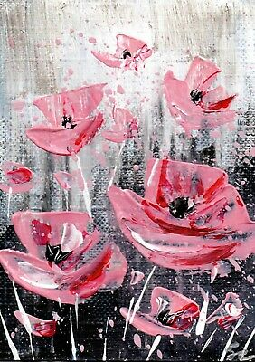 ACEO Original acrylic painting - Pink flowers